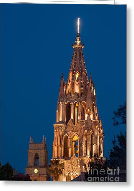 San Rafael Church Greeting Cards - San Migel De Allende, Mexico Greeting Card by John Shaw