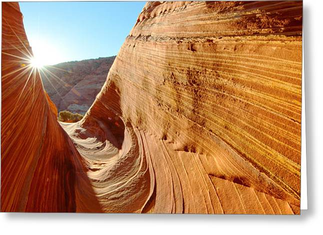 Lens Flare Greeting Cards - Sandstone Rock Formations, The Wave Greeting Card by Panoramic Images