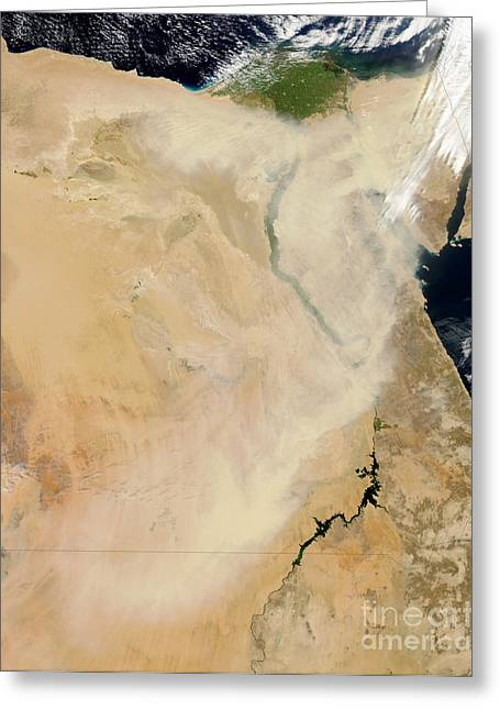 Satellite View Of A Dust Storm Greeting Card by Stocktrek Images