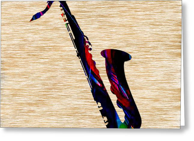 Sax Greeting Card by Marvin Blaine