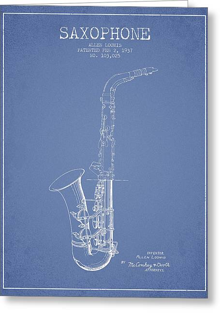 Saxophone Greeting Cards - Saxophone Patent Drawing From 1937 - Light Blue Greeting Card by Aged Pixel