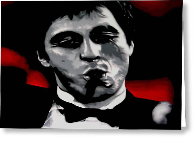 Tony Montana Greeting Cards - Scarface 2013 Greeting Card by Luis Ludzska