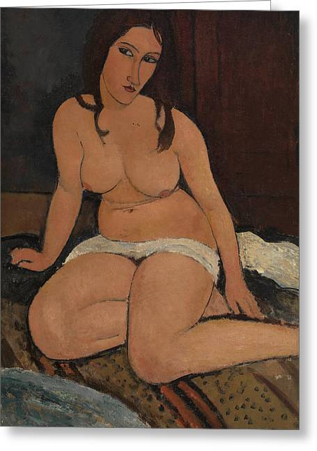 Modigliani Photographs Greeting Cards - Seated Nude Greeting Card by Amedeo Modigliani