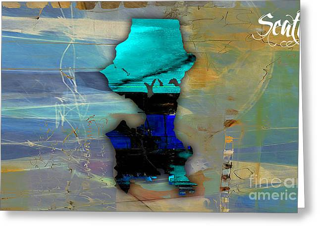 Seattle Skyline Mixed Media Greeting Cards - Seattle Map Watercolor Greeting Card by Marvin Blaine