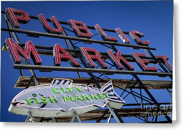Locally Grown Greeting Cards - Seattle Market Sign Greeting Card by Brian Jannsen