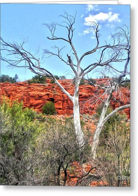 Sedona Arizona Dead Tree Greeting Card by Gregory Dyer