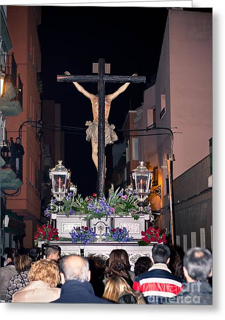 Holy Week Greeting Cards - Semana Santa Holy Week procession in Spain Greeting Card by Jan Mika
