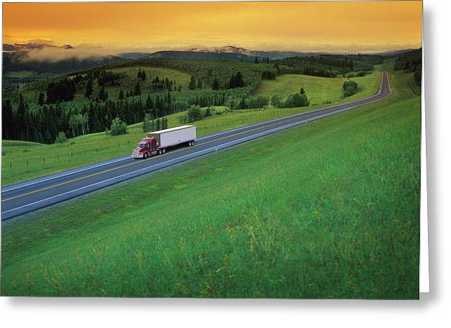 Semi-trailer Truck Greeting Card by Don Hammond