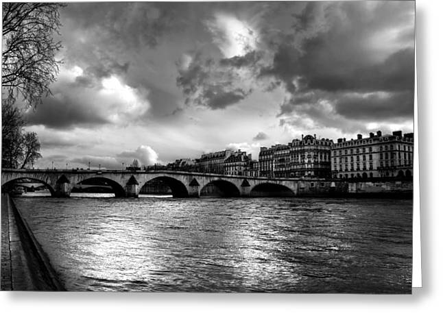 Famous Bridge Greeting Cards - Sena river in Paris after storm Greeting Card by Radoslav Nedelchev