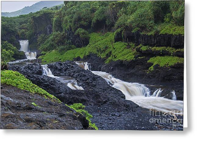 Recently Sold -  - Pacific Ocean Prints Greeting Cards - Seven Sacred Pools Greeting Card by Yefim Bam