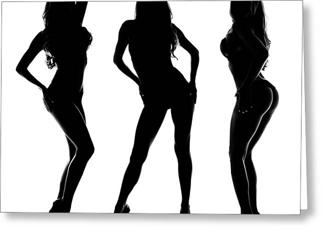 3 Sexy Modeling Silhouettes Greeting Card by Jt PhotoDesign