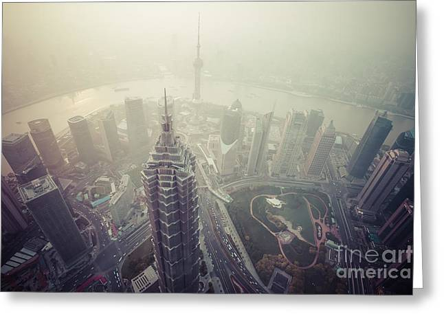 Carbon Dioxide Photographs Greeting Cards - Shanghai Pudong skyline Greeting Card by Fototrav Print