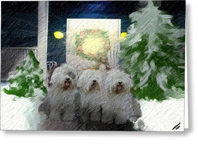 Oes Greeting Cards - 3 Sheepdogs Greeting Card by Cathy Howard