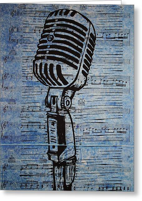 Lino Print Greeting Cards - Shure 55s on music Greeting Card by William Cauthern