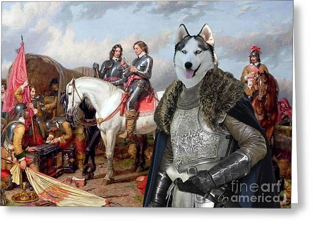 Siberian Husky Dog Art Greeting Cards - Siberian Husky Art Canvas Print Greeting Card by Sandra Sij