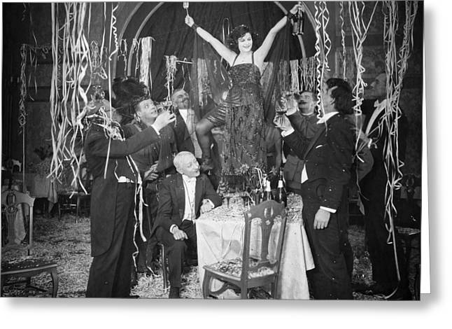Toast Greeting Cards - Silent Film Still: Parties Greeting Card by Granger