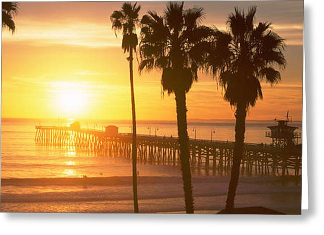 Clemente Greeting Cards - Silhouette Of A Pier, San Clemente Greeting Card by Panoramic Images
