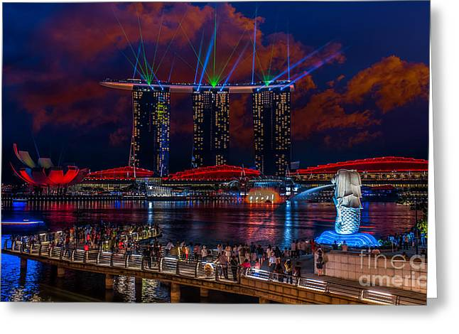 Esplanade Outdoors Greeting Cards - Singapore Greeting Card by Anek Suwannaphoom