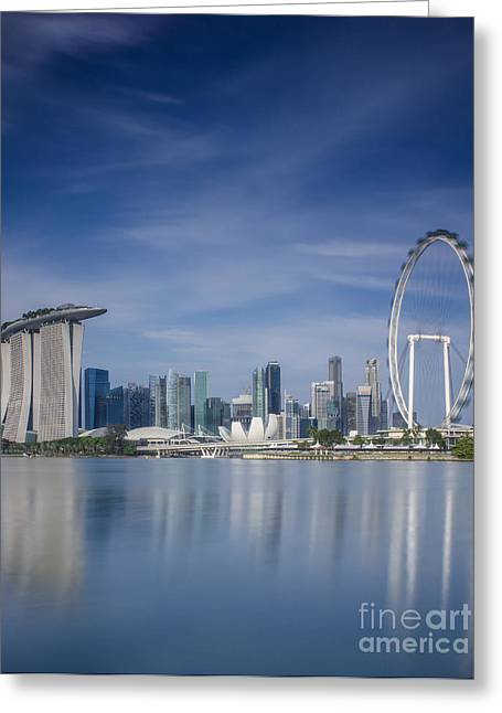 Buildings By The Sea Photographs Greeting Cards - Singapore city Greeting Card by Anek Suwannaphoom