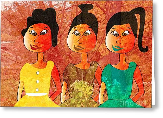 Abstract Digital Drawings Greeting Cards - Sisters Greeting Card by Iris Gelbart