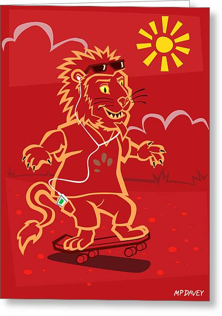 Urban Sport Greeting Cards - skateboarding Lion  Greeting Card by Martin Davey