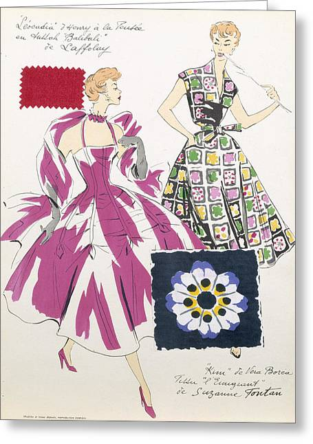 Fashion Design Greeting Cards - Sketches And Fabric Swatches Greeting Card by French School