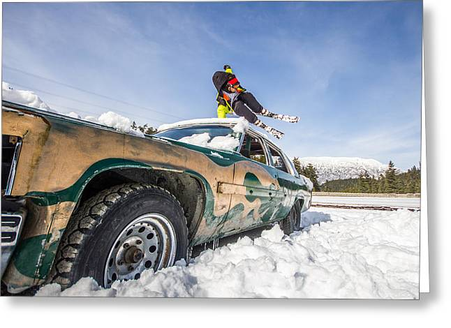 Freestyle Skiing Greeting Cards - Ski freestyle - Skier jumping over vintage car Greeting Card by Alejandro Moreno de Carlos