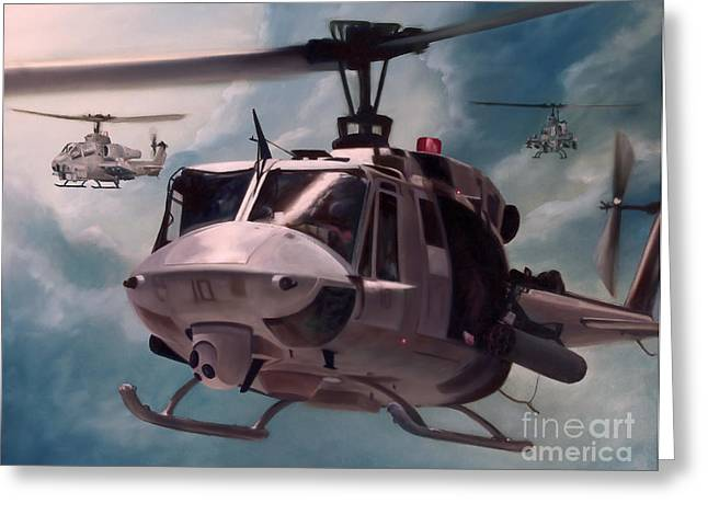 Helicopter Greeting Cards - Skid Kids Greeting Card by Stephen Roberson