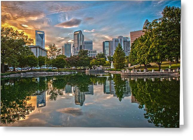 Downtown Charlotte Nc Greeting Cards - Skyline of Uptown Charlotte North Carolina. Greeting Card by Alexandr Grichenko