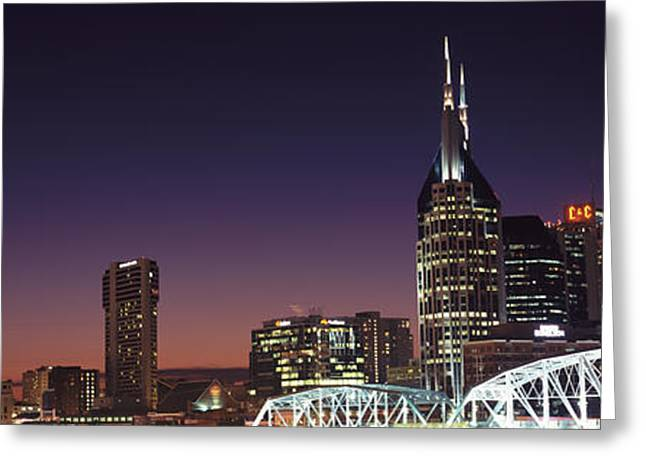 Tennessee River Greeting Cards - Skylines And Shelby Street Bridge Greeting Card by Panoramic Images