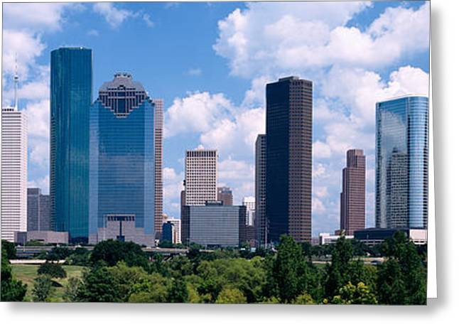 Commercial Building Greeting Cards - Skyscrapers In A City, Houston, Texas Greeting Card by Panoramic Images