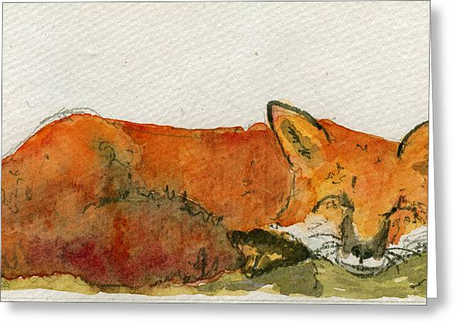 Sleeping Animals Greeting Cards - Sleeping red fox Greeting Card by Juan  Bosco