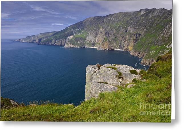 Ocean Landscape Greeting Cards - Slieve League Cliffs, Ireland Greeting Card by John Shaw