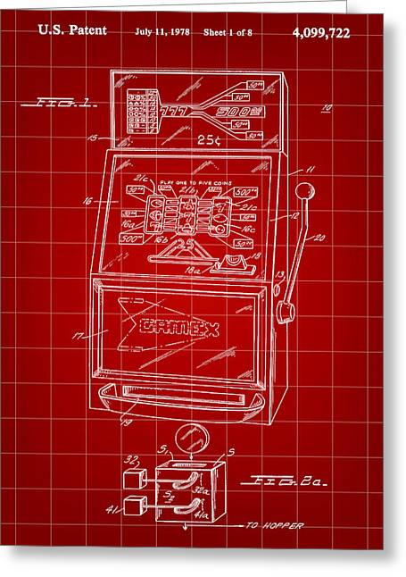 Basement Greeting Cards - Slot Machine Patent 1978 - Red Greeting Card by Stephen Younts