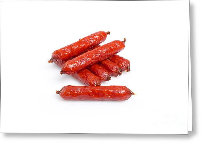 Delicatessen Meat Greeting Cards - Small Smoked Sausages Greeting Card by Aleksey Tugolukov