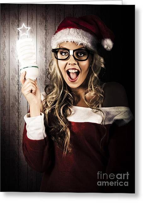 Ambition Photographs Greeting Cards - Smart Female Santa Claus With Christmas Idea Greeting Card by Ryan Jorgensen