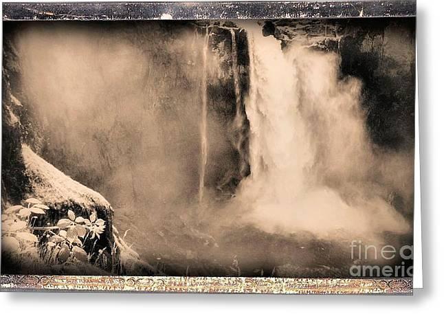 Abstract Waterfall Greeting Cards - Snoqualmie Falls Greeting Card by John Krakora