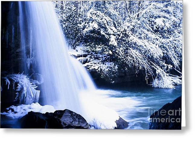 Mccoy Photographs Greeting Cards - Snow and Waterfall Greeting Card by Thomas R Fletcher