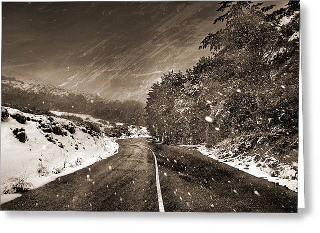 Mountain Road Greeting Cards - Snow storm Greeting Card by Guido Montanes Castillo