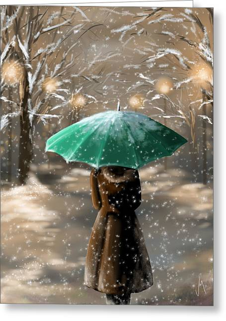 Umbrellas Greeting Cards - Snow Greeting Card by Veronica Minozzi