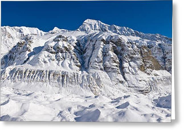 Annapurna Greeting Cards - Snowcapped Mountain, Annapurna Base Greeting Card by Panoramic Images
