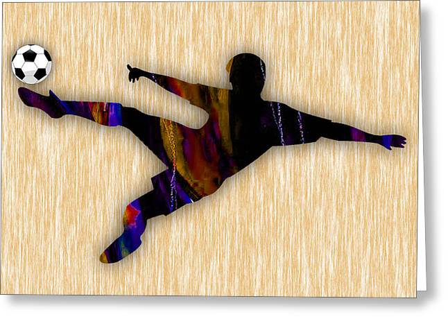 Soccer Player Greeting Cards - Soccer Player Greeting Card by Marvin Blaine