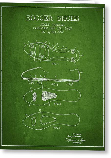 Boots Digital Art Greeting Cards - Soccer Shoe Patent from 1967 Greeting Card by Aged Pixel