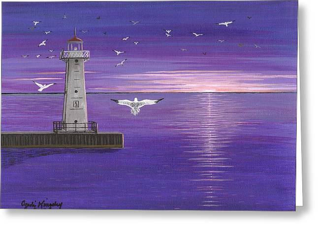 Cyndi Kingsley Greeting Cards - Sodus Point NY Pier Lighthouse Greeting Card by Cyndi Kingsley