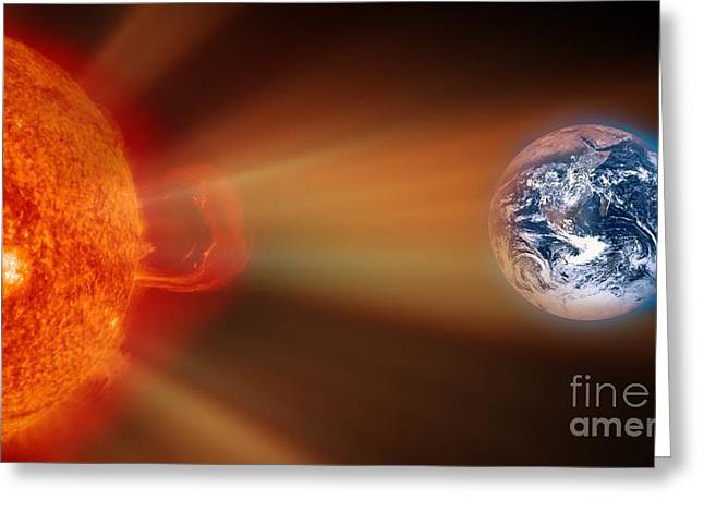 Ejection Greeting Cards - Solar Storm, Artwork Greeting Card by Victor de Schwanberg