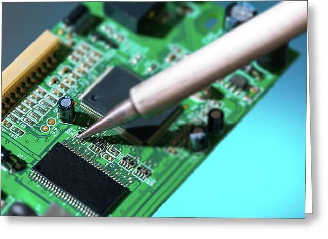 Soldering An Circuit Board Greeting Card by Wladimir Bulgar