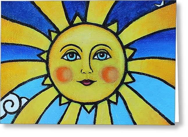Sun Rays Paintings Greeting Cards - Soleil Greeting Card by Tricia Lesky