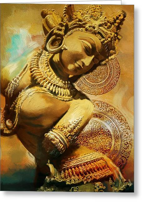 Dancer Art Greeting Cards - South Asian Art Greeting Card by Corporate Art Task Force