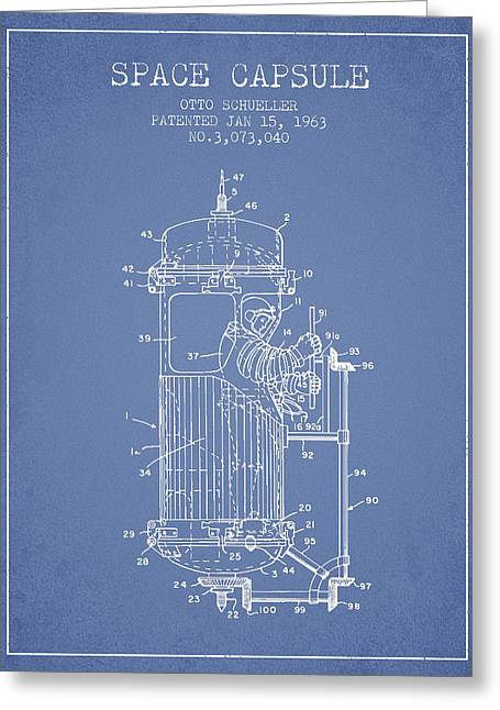 Orbit Greeting Cards - Space Capsule Patent from 1963 Greeting Card by Aged Pixel
