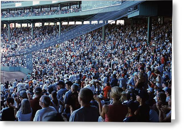 Baseball Parks Photographs Greeting Cards - Spectators Watching A Baseball Match Greeting Card by Panoramic Images